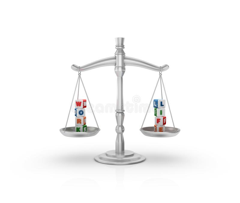 Legal Weight Scale with Work Lif Cubes royalty free illustration