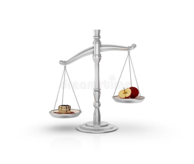 Legale Gewichts-Skala mit Kuchen und Frucht stock abbildung