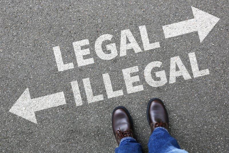 Legale illegale GeschäftsmannGeschäftsmann-Konzeptentscheidung verbieten stockfotografie