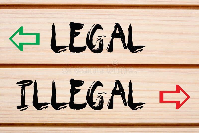 Legale und illegale Wörter lizenzfreie stockfotos