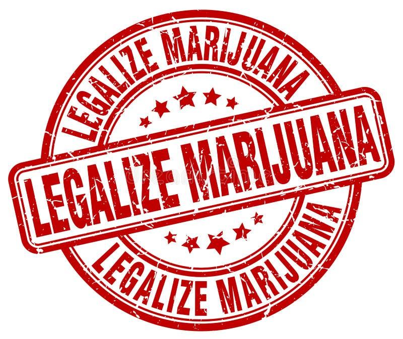 legalice el sello redondo del grunge rojo de la marijuana ilustración del vector