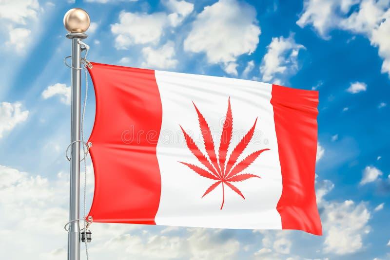 Legalización del cáñamo en Canadá Bandera canadiense con marijuana imagen de archivo libre de regalías