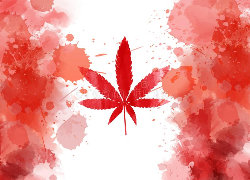 Legalization of cannabis in Canada. Abstract grunge watercolor flag of Canada where maple leaf replaced by marijuana leaf vector illustration