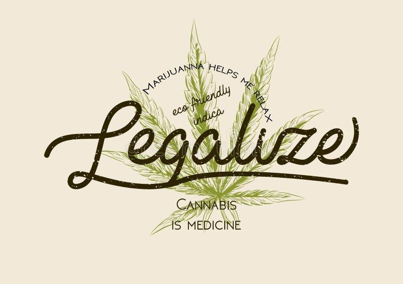 Legalize marijuana, weed cannabis green leaf retro logo, poster, t-shirt design. Indica package vintage label. Medecine plant leg royalty free illustration