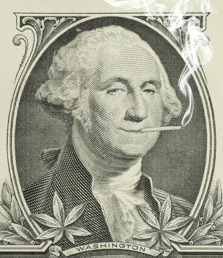 Legalized marijuana George Washington with joint royalty free stock photo
