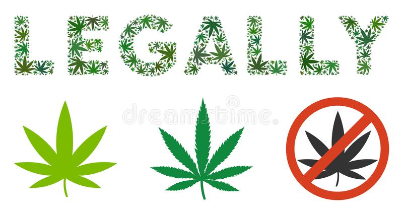 Legally Caption Mosaic of Weed Leaves vector illustration