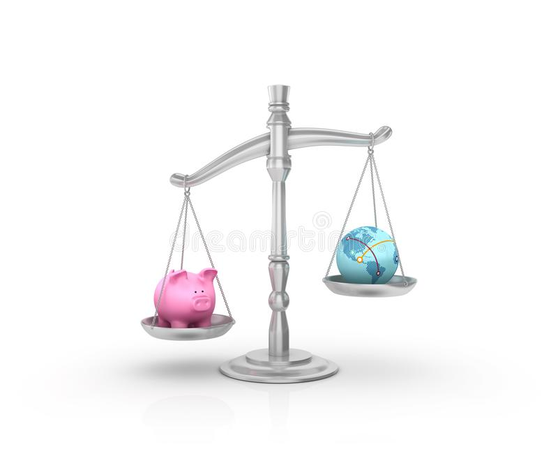 Legalna ciężar skala z prosiątko bankiem i kula ziemska światem ilustracja wektor