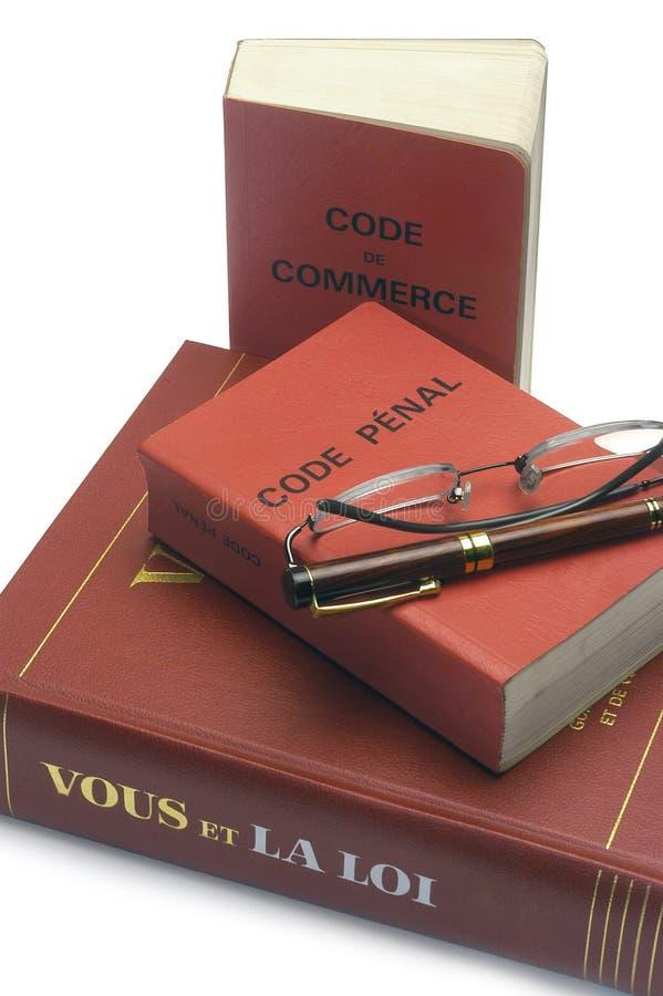 Legalne książki i Francuski kod karny i handlowy fotografia royalty free
