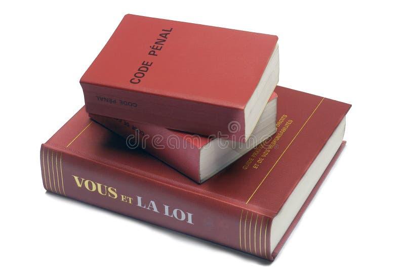 Legalne książki i Francuski kodeks karny fotografia royalty free
