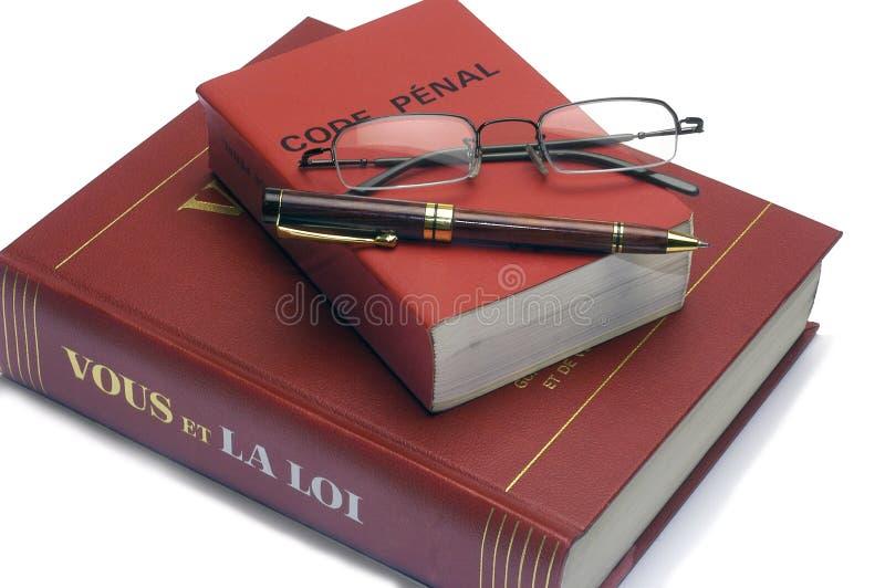 Legalne książki i Francuski kodeks karny obrazy royalty free