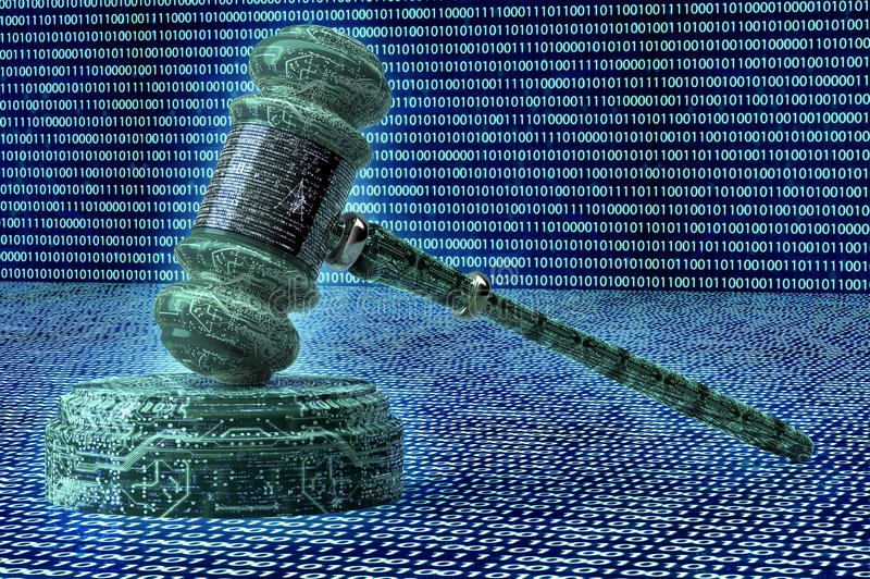 Legalny komputerowy sędziego pojęcie, cyber młoteczek, 3D ilustracja ilustracja wektor