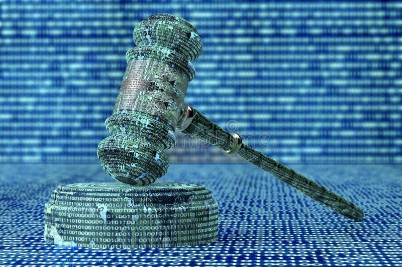 Legalny komputerowy sędziego pojęcie, cyber młoteczek, 3D ilustracja ilustracji