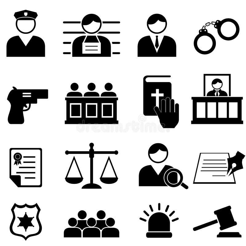 Legalny, sprawiedliwości i sądu ikono, ilustracja wektor