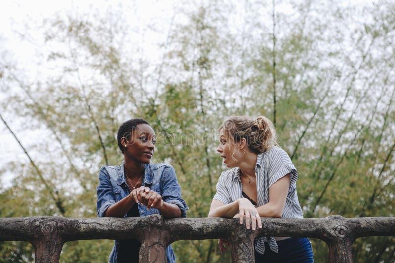 Legame adulto femminile di amicizia di due giovane amici all'aperto, libertà e concetto all'aperto fotografia stock libera da diritti