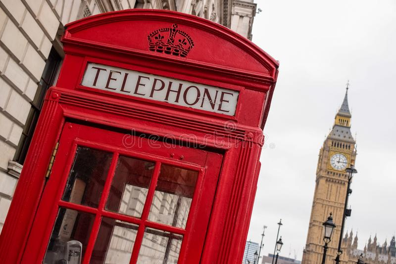 Legendary Phone Booth in London royalty free stock images