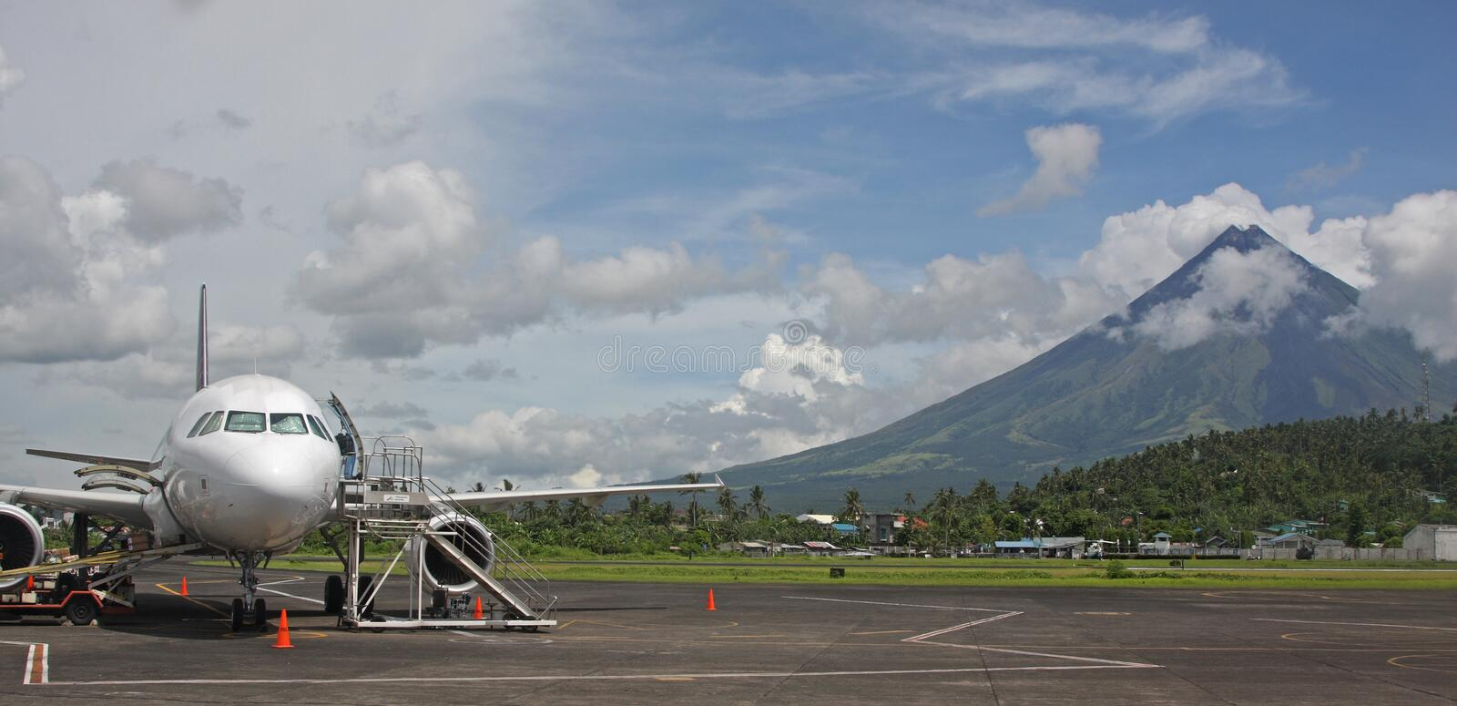 Legaspi airport with Mount Mayon royalty free stock photography