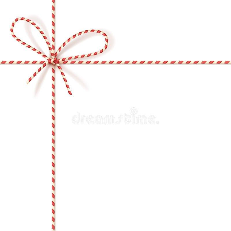 Legatura del regalo di Natale: arco-nodo di cavo torto rosso e bianco Vector l'illustrazione, EPS10 illustrazione di stock