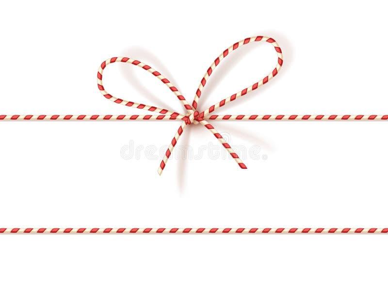 Legatura del regalo di Natale: arco-nodo di cavo torto rosso e bianco Vector l'illustrazione, EPS10 royalty illustrazione gratis