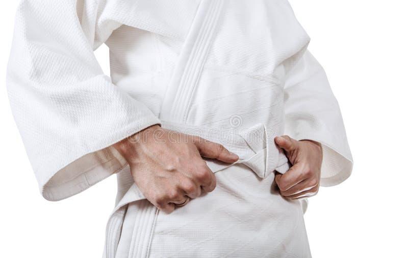 Legatura della fine della cinghia del kimono sull'immagine fotografie stock