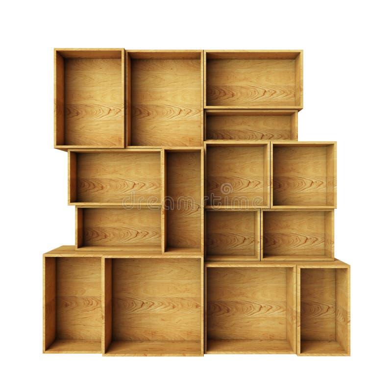 Lege abstracte houten die planken op witte achtergrond worden geïsoleerd stock illustratie