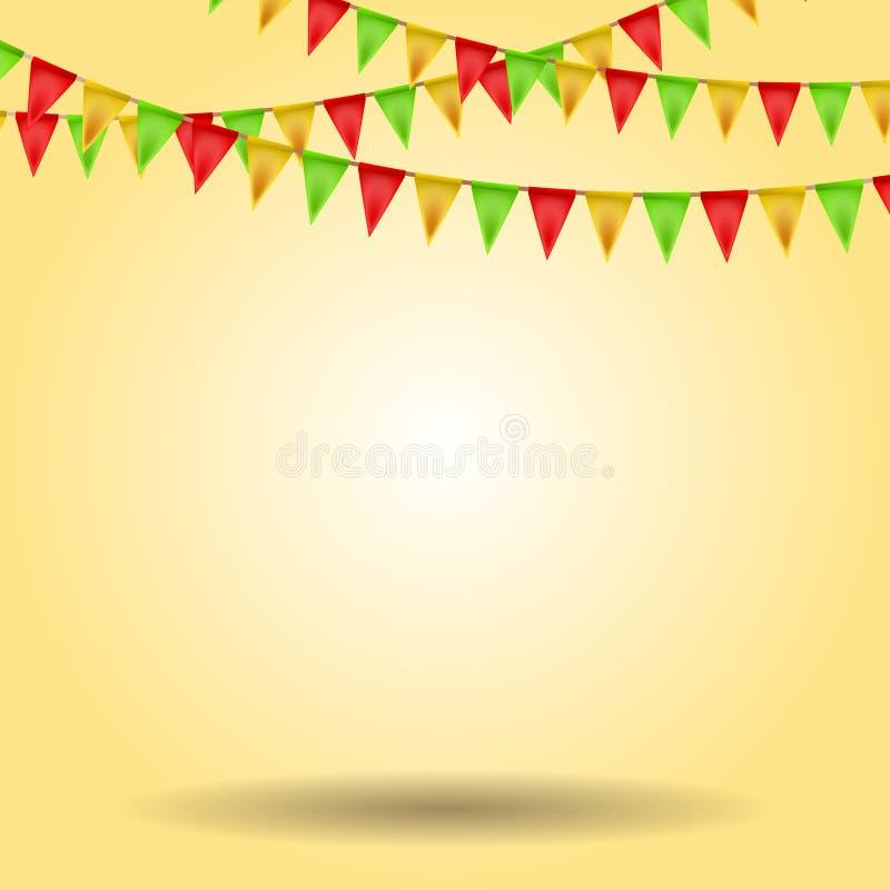 Lege achtergrond met Carnaval-vlaggen royalty-vrije illustratie
