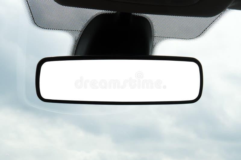 Lege achteruitkijkspiegel met een het knippen weg Lege ruimte voor ontwerp stock foto