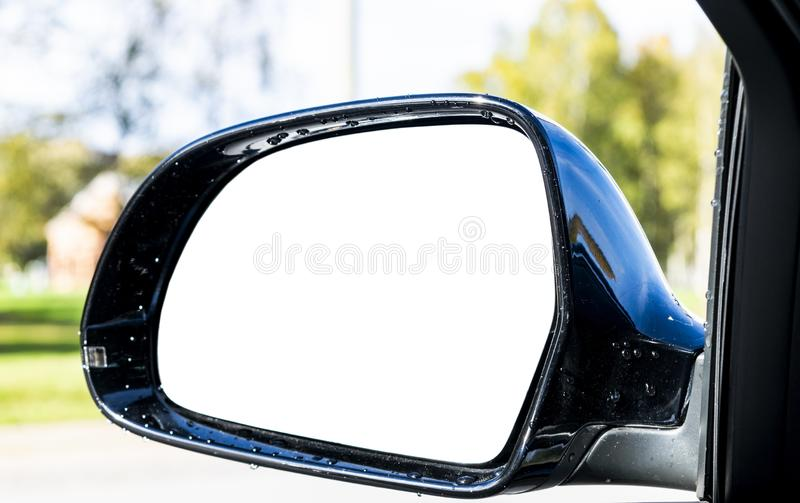 Lege achteruitkijkspiegel met een het knippen weg Lege ruimte voor tekst of ontwerp  royalty-vrije stock afbeelding