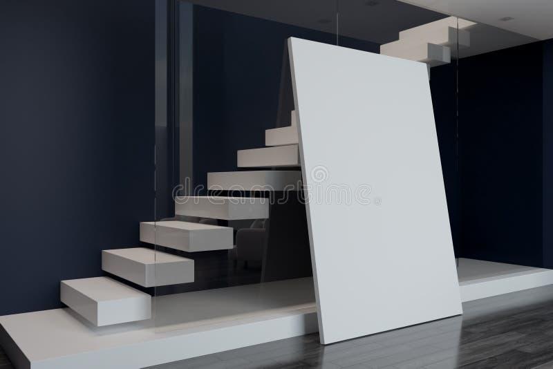 Lege affiche en witte treden achter muur vector illustratie