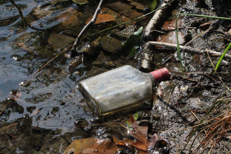 Lege Alcoholische drankfles in Moerassig Meer stock foto