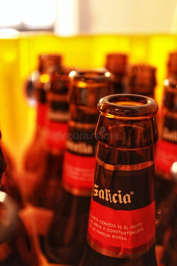 Lege bierflessen op een rij royalty-vrije stock afbeelding