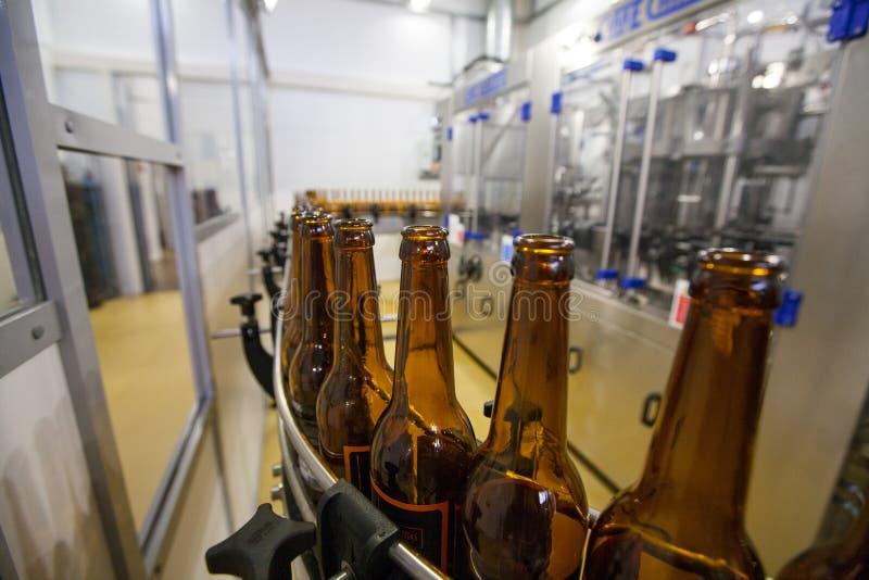 Lege bierflessen, op een transportband, Bindende brouwerij royalty-vrije stock afbeeldingen