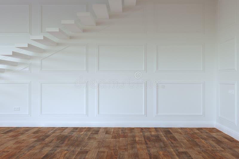 Lege Binnenlandse Zaal met Treden aan Eerste verdieping vector illustratie