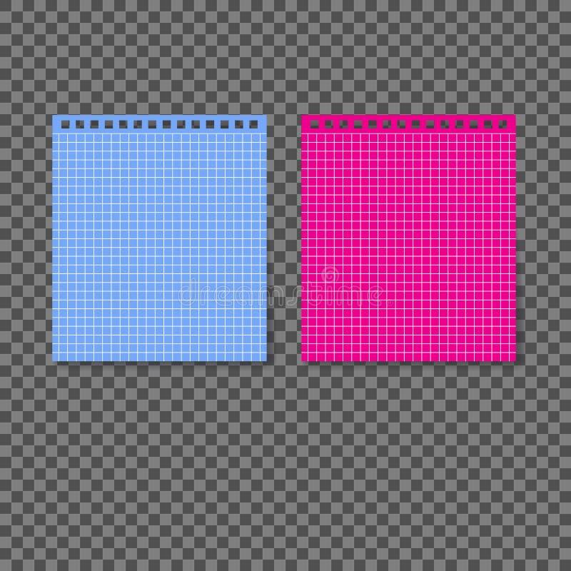 Lege blauwe en roze spiraalvormige pagina vector illustratie