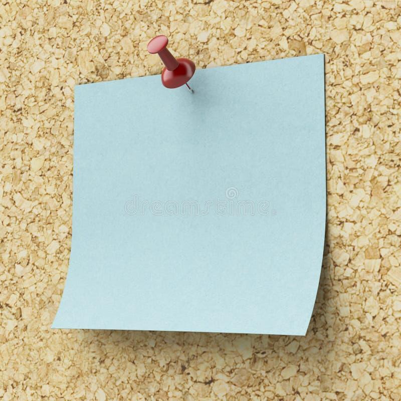 Lege blauwe kleverige die nota op een cork raad wordt gespeld vector illustratie