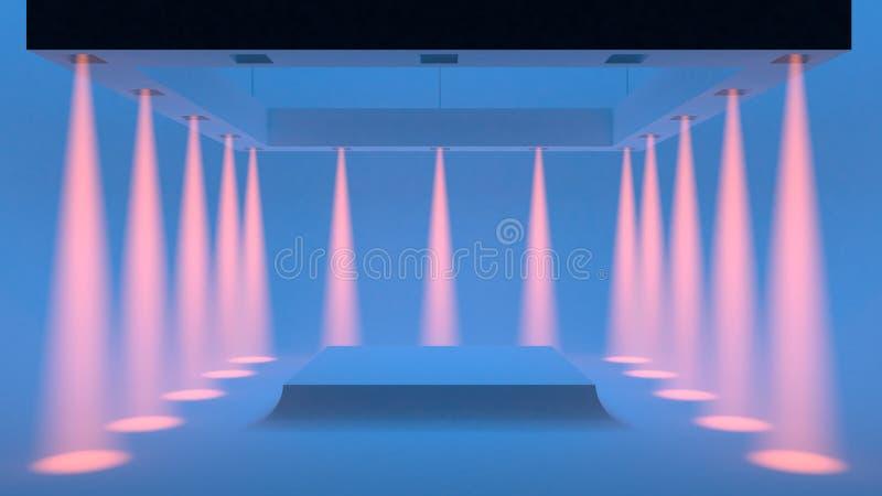 Lege blauwe studio met schijnwerpers op de randen en het zachte vlotte licht in het centrum het 3d teruggeven stock illustratie