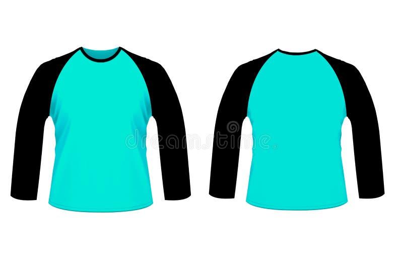 Lege blauwe zwarte raglan lange sleve overhemdsspot omhoog templat royalty-vrije illustratie