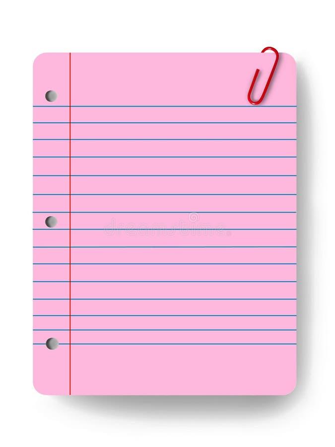 Lege blocnote en een paperclip stock illustratie