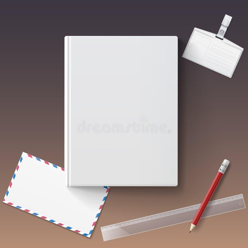 Lege boekdekking met kantoorbehoeften royalty-vrije illustratie