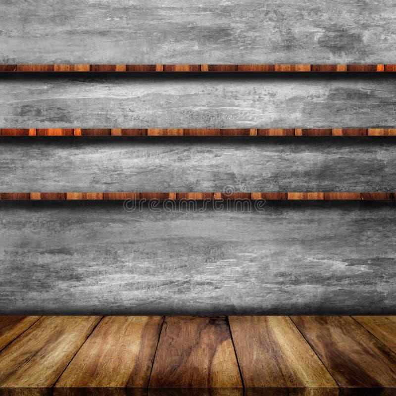 Lege bovenkant van lijst en houten plank met naakte concrete muur stock fotografie