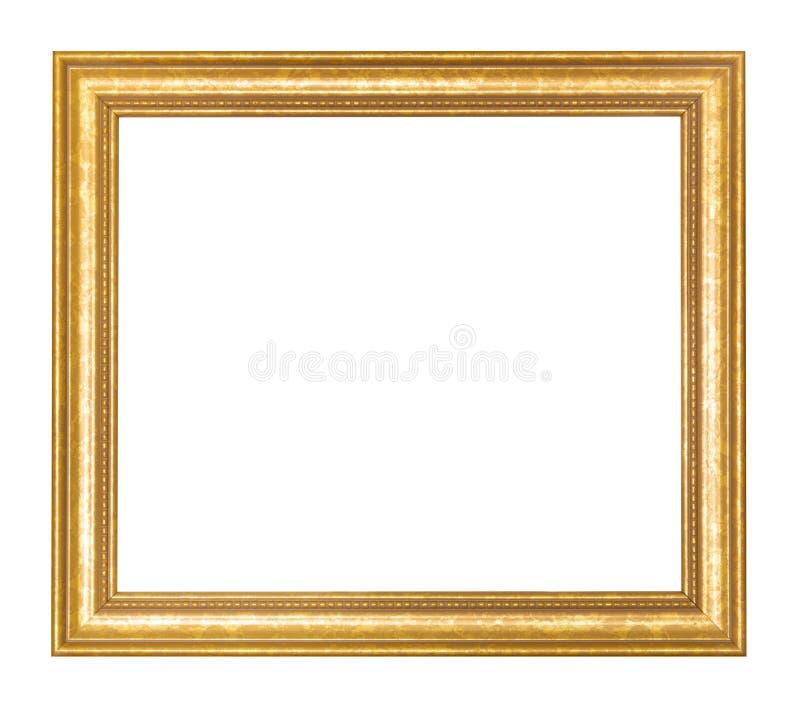 Lege brede gouden houten omlijsting stock afbeelding