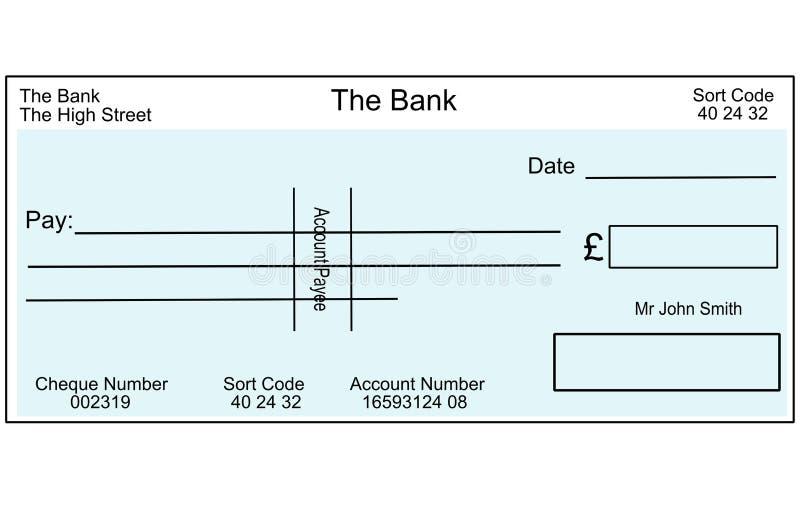 Lege Britse cheque stock illustratie