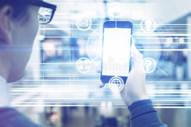 Lege cellulaire telefoon met digitaal patroon royalty-vrije stock foto's