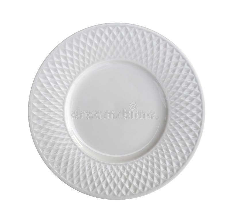 Lege ceramische plaat hoogste die mening op witte achtergrond wordt geïsoleerd, clipp stock foto
