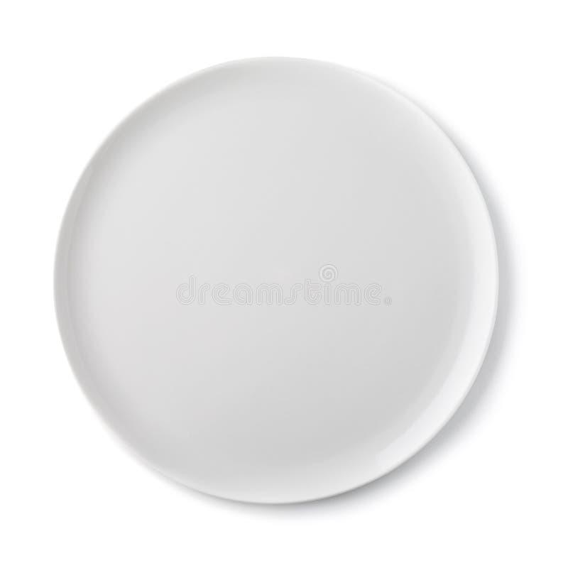 Lege ceramische plaat van witte kleur, hoogste mening van geïsoleerd stock foto