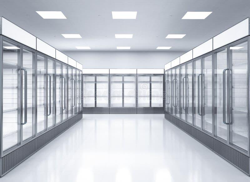 Lege commerciële koelkasten in opslag royalty-vrije stock afbeeldingen