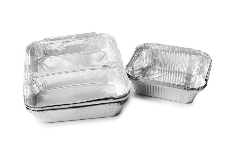Lege containers op witte achtergrond De dienst van de voedsellevering royalty-vrije stock foto