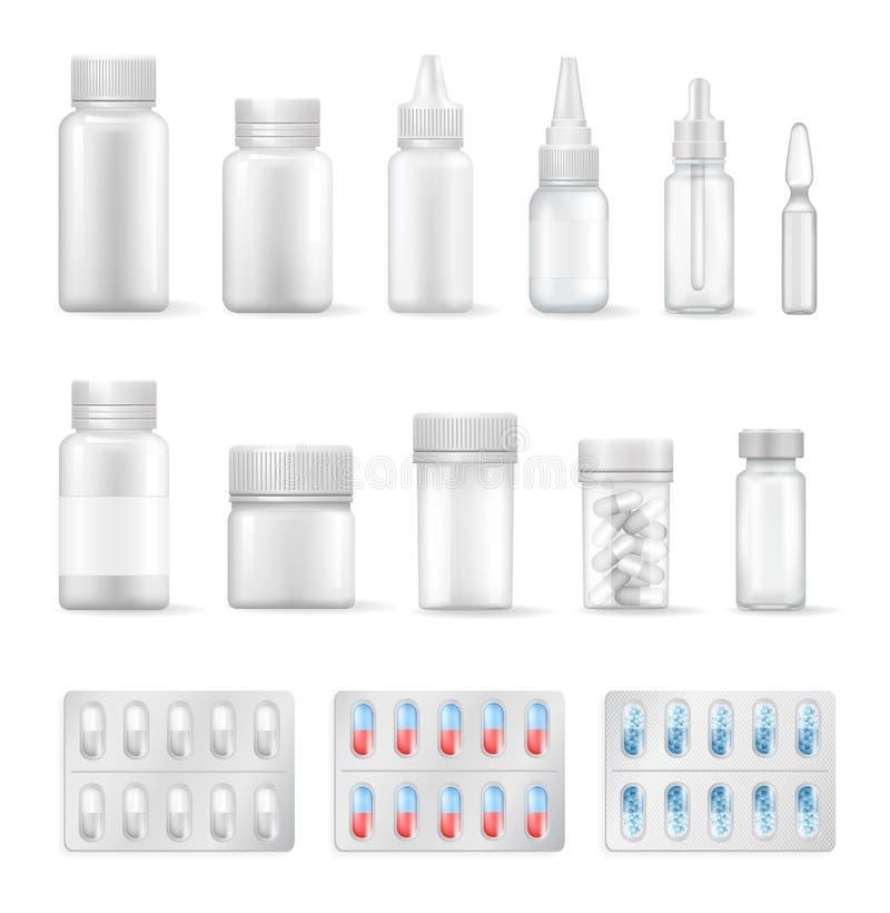 Lege Containers voor Medische Vloeistoffen en Geplaatste Pillen royalty-vrije illustratie