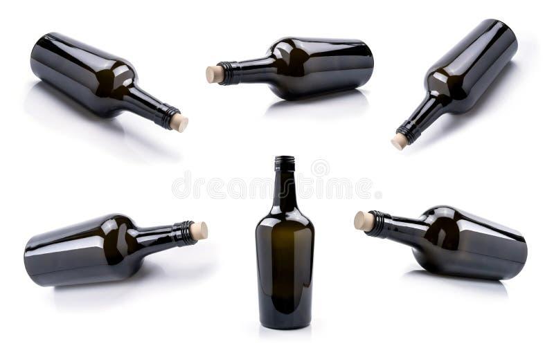 Lege de flessenreeks van de glaswijn royalty-vrije stock afbeeldingen