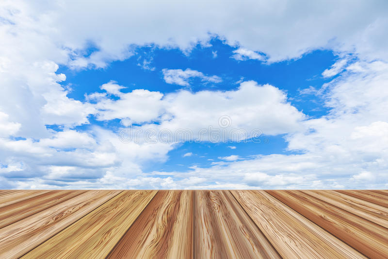 Lege de lijstbovenkant van de perspectief houten raad over mooie blauwe hemel vector illustratie