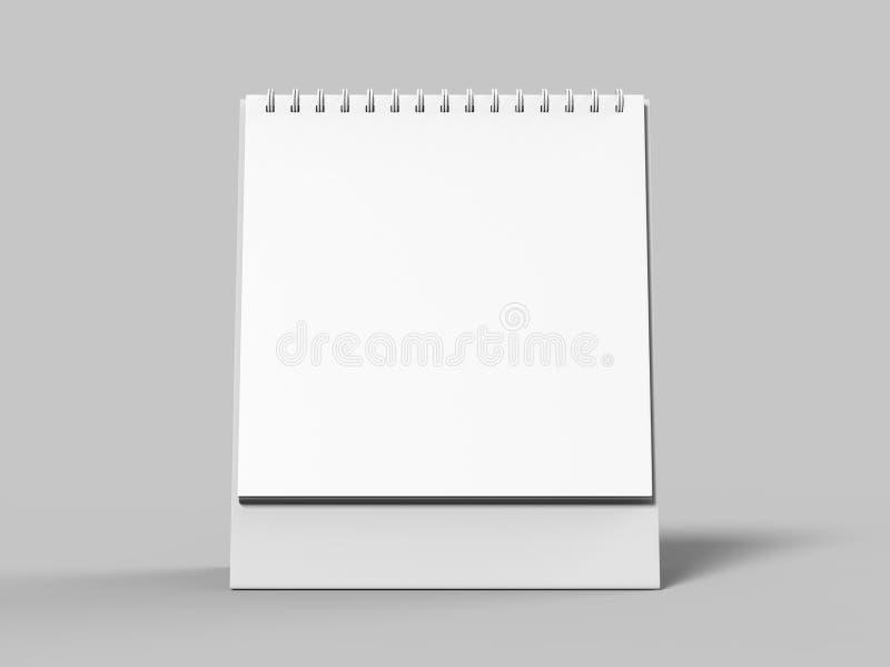 Lege die Desktopkalender op witte achtergrond voor spot omhoog en drukontwerpen wordt geïsoleerd 3d geef illustratie terug stock illustratie